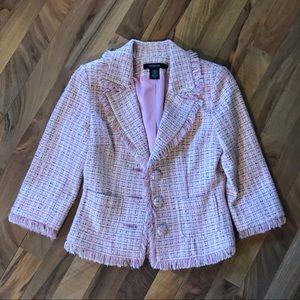 Arden B. • Tweed Fringe 3/4 Sleeve Cropped Blazer